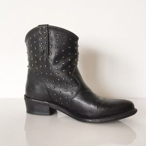 Zara Vintage Studded Black Cowboy Boots 38